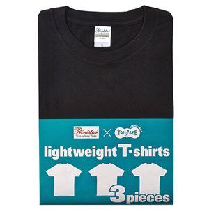 (まとめ) TANOSEE ライトウェイトTシャツ ブラック L 1パック(3着) 【×2セット】 h01