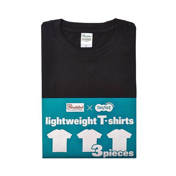 (まとめ) TANOSEE ライトウェイトTシャツ ブラック L 1パック(3着) 【×2セット】f00