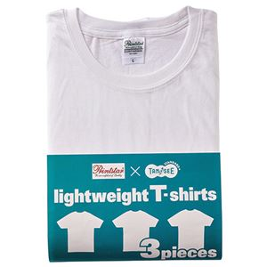 (まとめ) TANOSEE ライトウェイトTシャツ ホワイト S 1パック(3着) 【×2セット】 h01