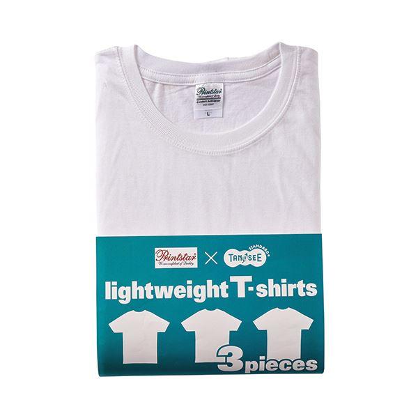 (まとめ) TANOSEE ライトウェイトTシャツ ホワイト S 1パック(3着) 【×2セット】f00