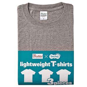 (まとめ) TANOSEE ライトウェイトTシャツ 杢グレー M 1パック(3着) 【×2セット】 h01
