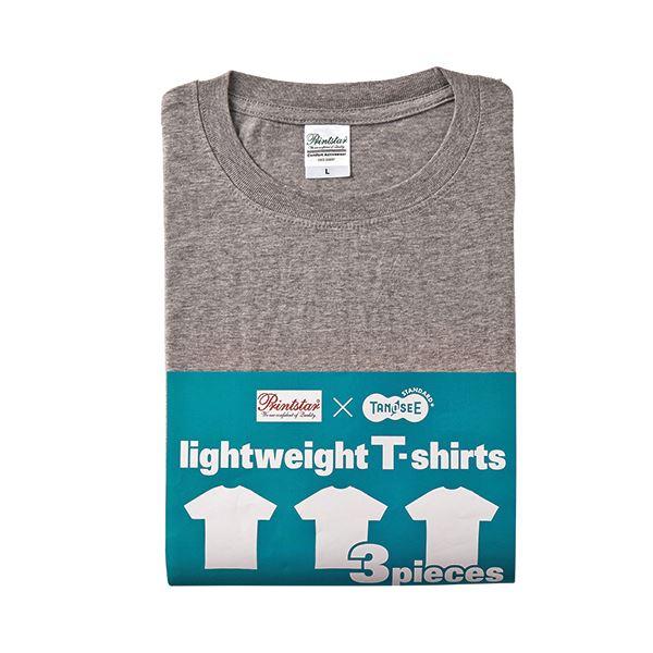 (まとめ) TANOSEE ライトウェイトTシャツ 杢グレー M 1パック(3着) 【×2セット】f00