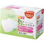 (まとめ) YAMAZEN 2PLYプリーツマスク YFM2-100 1箱(100枚) 【×10セット】