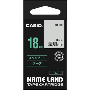 (まとめ) カシオ CASIO ネームランド NAME LAND スタンダードテープ 18mm×8m 透明/黒文字 XR-18X 1個 【×4セット】