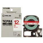 (まとめ) キングジム テプラ PRO テープカートリッジ 12mm 白/赤文字 SS12R 1個 【×5セット】