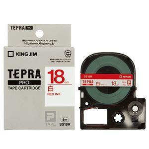 (まとめ)キングジムテプラPROテープカートリッジ18mm白/赤文字SS18R1個【×4セット】