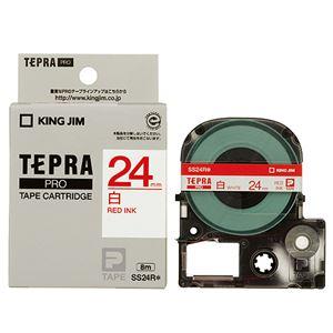(まとめ) キングジム テプラ PRO テープカートリッジ 24mm 白/赤文字 SS24R 1個 【×4セット】