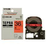 (まとめ) キングジム テプラ PRO テープカートリッジ パステル 36mm 赤/黒文字 SC36R 1個 【×2セット】