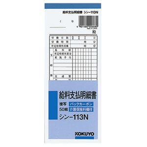 (まとめ)コクヨBC複写給料支払明細書(バックカーボン)50組シン-113N1冊【×20セット】