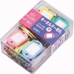 (まとめ)ソニックキーホルダー名札小両面表示5色GP-6631ケース(30個:各色6個)【×5セット】