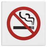(まとめ) 光 アクリルマット板サイン 禁煙マークテープ付 タテ100×ヨコ100×厚み2mm 白 KMP1052-2 1枚 【×5セット】