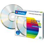 (まとめ)バーベイタム データ用CD-RW700MB 4倍速 ブランドシルバー 5mmスリムケース SW80QU5V1 1パック(5枚) 【×5セット】