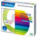 (まとめ)バーベイタム データ用CD-RW700MB 4倍速 5色カラーMIX 5mmスリムケース SW80QM5V1 1パック(5枚) 【×5セット】