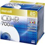 (まとめ)マクセル データ用CD-R 700MB48倍速 ホワイトプリンタブル 5mmスリムケース CDR700S.PNW.20S 1パック(20枚) 【×3セット】