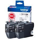 (まとめ)ブラザー インクカートリッジ ブラックLC3111BK-2PK 1箱(2個) 【×3セット】