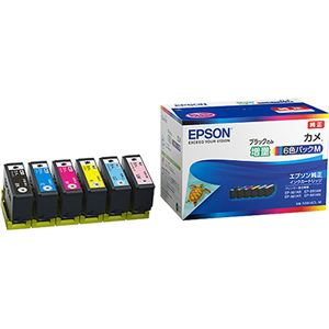 エプソンインクカートリッジカメ6色パックM(黒のみ増量)KAM-6CL-M1箱(6個:各色1個)