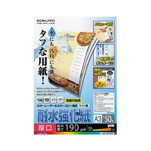 (まとめ)コクヨカラーレーザー&カラーコピー用紙(耐水強化紙)A3厚口LBP-WP3301冊(50枚)【×2セット】