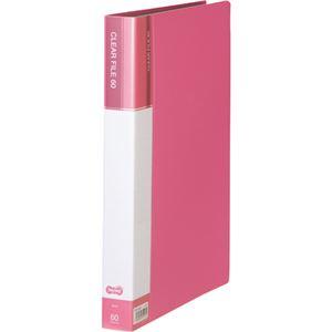 (まとめ)TANOSEEクリヤーファイル(台紙入) A4タテ 60ポケット 背幅34mm ピンク 1セット(6冊) 【×2セット】