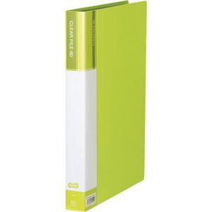 (まとめ)TANOSEEクリヤーファイル(台紙入) A4タテ 60ポケット 背幅34mm ライトグリーン 1セット(6冊) 【×2セット】