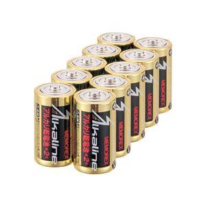(まとめ)メモレックス・テレックスアルカリ乾電池単2形LR14/1.5V/10S1パック(10本)【×5セット】