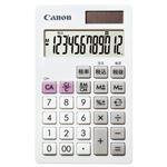 (まとめ)キヤノン 電卓 LS-12T 12桁手帳サイズ ホワイト 7427B002 1台【×5セット】