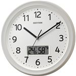 リズム時計 フィットウェーブリブ A02温湿度カレンダー切替表示機能付電波時計 白 8FYA02SR03 1台