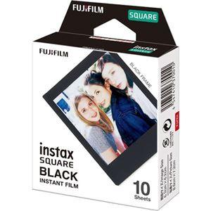 (まとめ)富士フイルム インスタントカラーフィルムinstax SQUARE ブラック 1パック(10枚)【×3セット】
