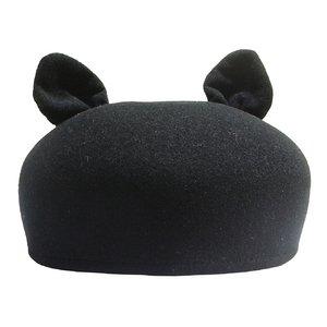 フェルトベレー帽(ネコ耳付)/ブラック - 拡大画像