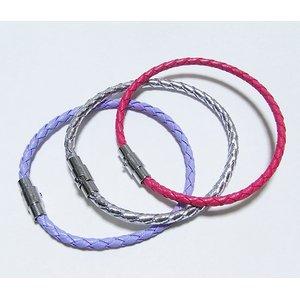 装着簡単♪編込みメッシュブレスレット【3本セット】/ピンク&パープル&シルバー h01