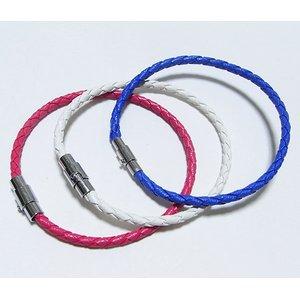 装着簡単♪編込みメッシュブレスレット【3本セット】/ピンク&ブルー&ホワイト h01