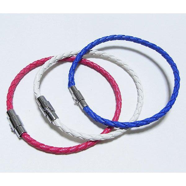 装着簡単♪編込みメッシュブレスレット【3本セット】/ピンク&ブルー&ホワイトf00