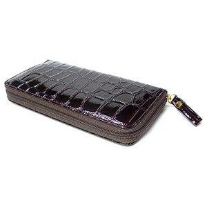 クロコダイル調ジップアップ長財布(ワイン) h01