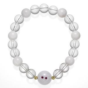 伝統工芸士彫天然石ブレス/白ねずみ