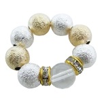 キャンディーボール&天然石リング/水晶