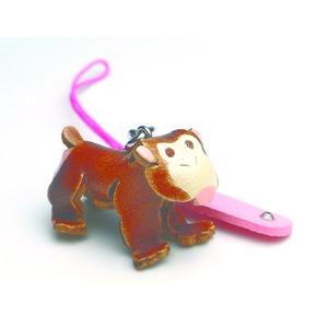 日本製牛革仕様のハンドメイド干支ストラップ/申の写真1