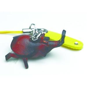 日本製牛革仕様のハンドメイドアニマルストラップ/カブトムシ
