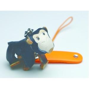 日本製牛革仕様のハンドメイドアニマルストラップ/チンパンジーの写真1