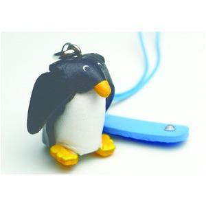 日本製牛革仕様のハンドメイドアニマルストラップ/ペンギンの写真1