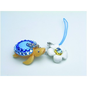日本製牛革仕様のハンドメイドデコストラップ/海ガメブルー