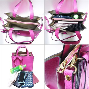 柔らか素材の仕切り付リボントートバッグ/ピンク