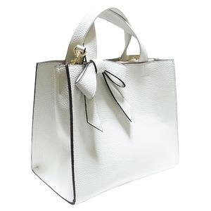 柔らか素材の仕切り付リボントートバッグ/アイボリー