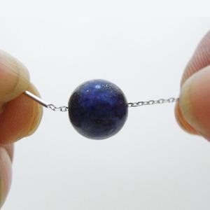 一粒の天然石シルバーネックレス/水晶
