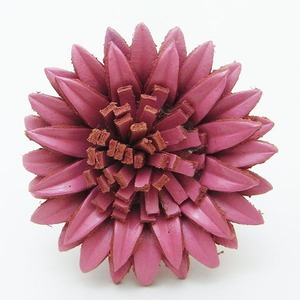 オールレザー マーガレットモチーフリング(ピンク) h02