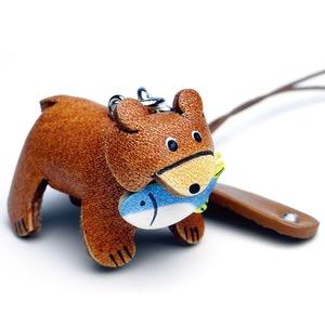 日本製牛革仕様のハンドメイドアニマルストラップ/クマ