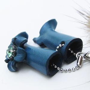 日本製牛革仕様のハンドメイドストラップ(ブーツ) ブルー