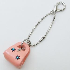 牛革キーホルダー(バッグ) ピンク