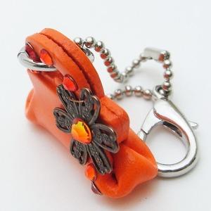 牛革キーホルダー(バッグ) オレンジ
