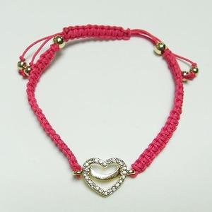 ハートチャーム細編みコードブレス(ピンク) h01