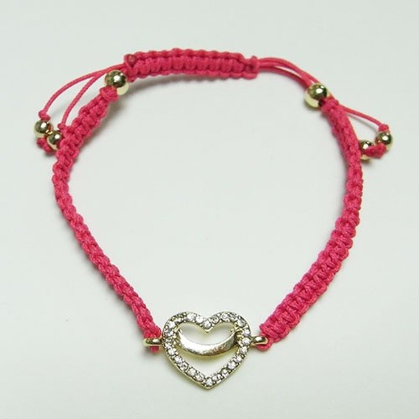 ハートチャーム細編みコードブレス(ピンク)f00