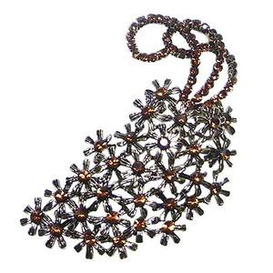 大きなアンティーク花束ブローチ/ブラウン h01